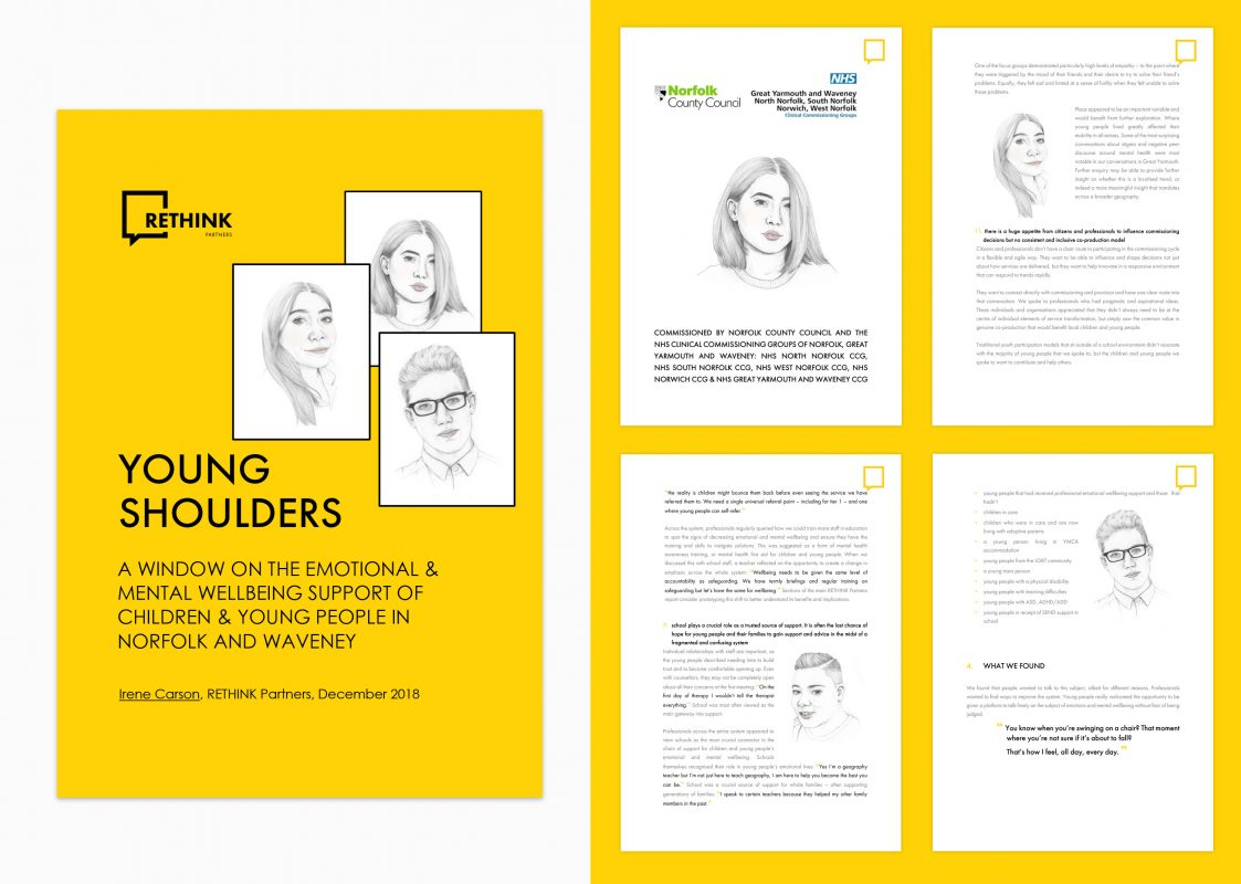Case Study: Rethink Partners   4 portrait illustrations for use in this published research report about the mental wellbeing of children and young people in Norfolk and Waveney.